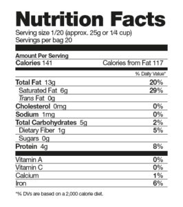 Nutrition Facts Cereal KZ