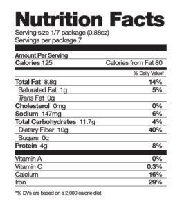 Nutrition Facts chia KZ